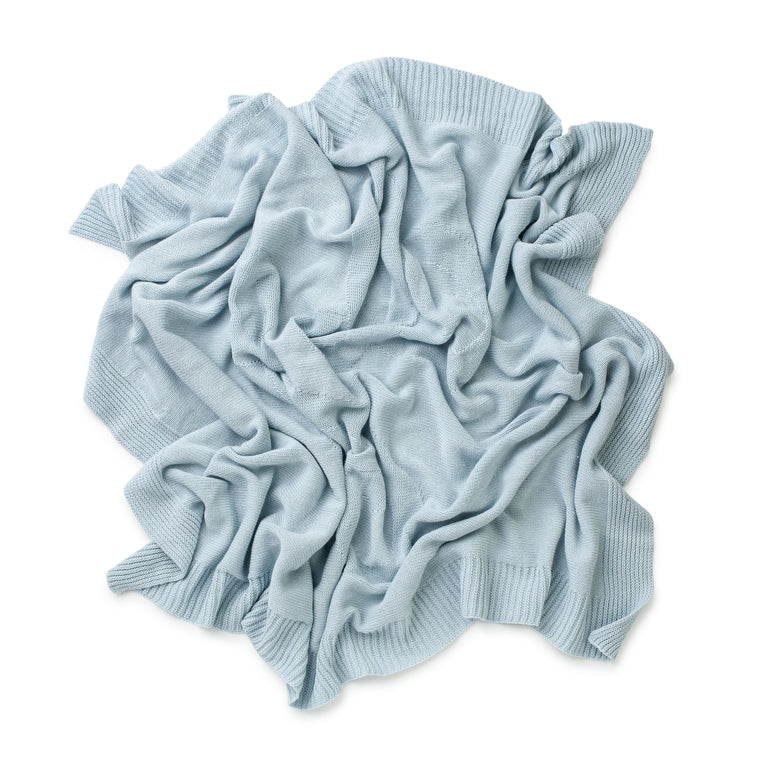 Sky Blue  Embroidered TC Cotton Cashmere Blanket