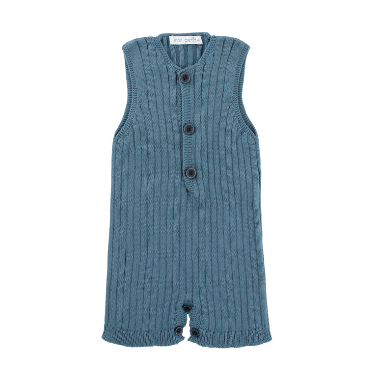 Paris Blue Ribbed Knitted Romper