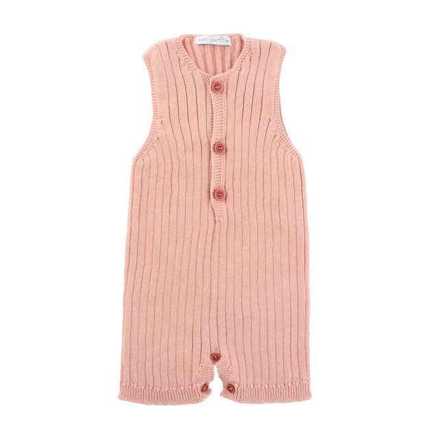 Powder Pink Ribbed Knitted Romper
