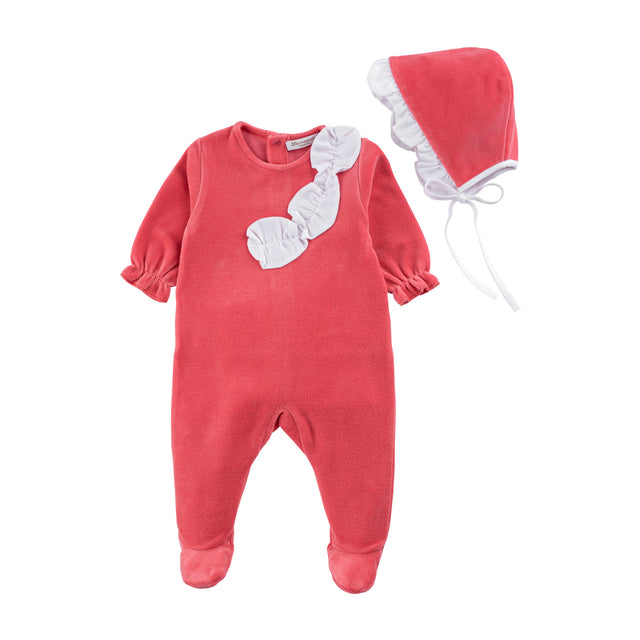 Coral Velour Ruffle Footie and Bonnet Set