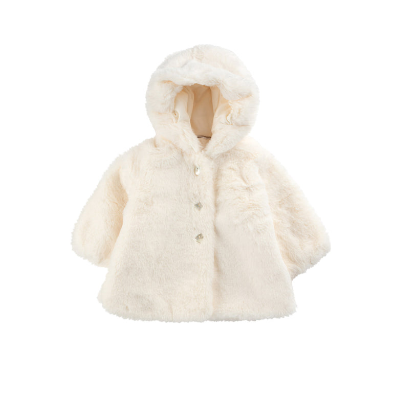 Ivory Fur Valtherm Hooded Jacket