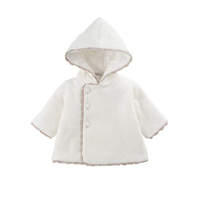 White Velour Crochet Trim Valtherm  Jacket
