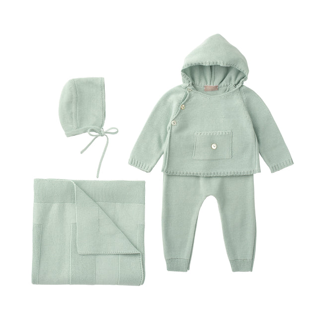Water Knit Hooded 3 Piece Sweater Set