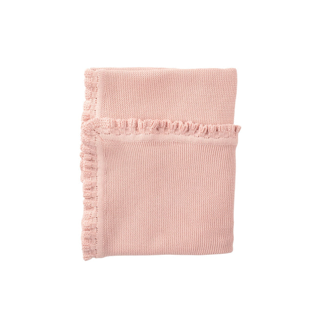 Antique Pink Ruffled Knit Blanket