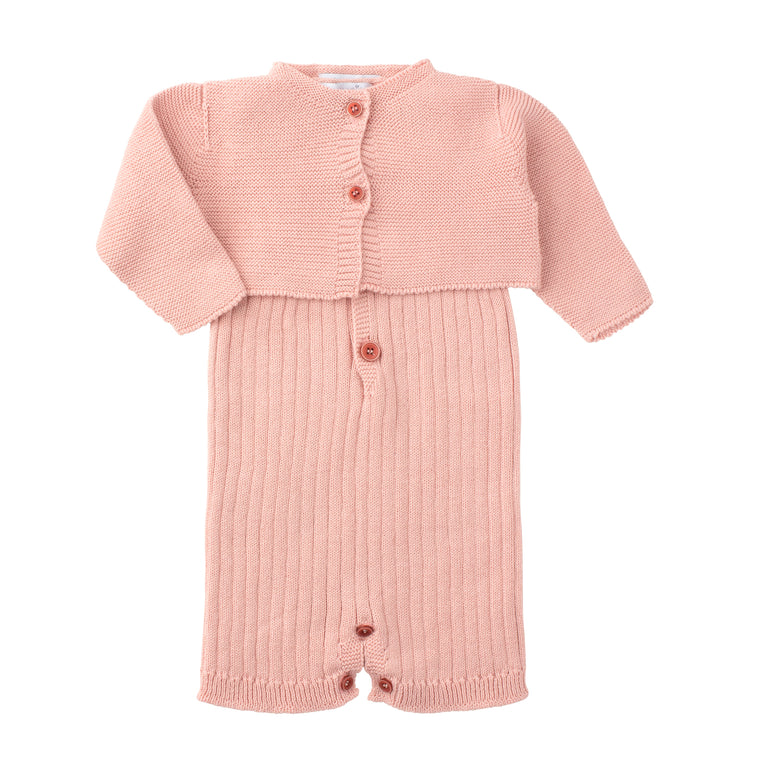 5ba700646 Powder Pink Ribbed Knitted Romper