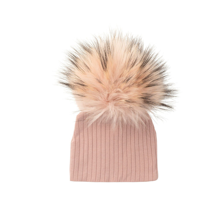 Dusty Pink Ribbed Hat