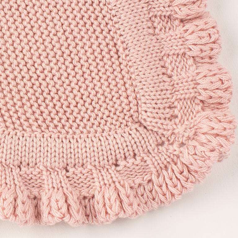 Antique Pink Ruffle Knit Blanket