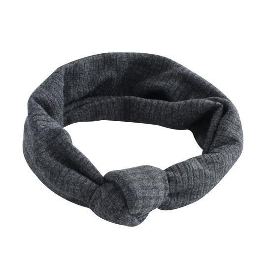 Grey Ribbed Turban Headband