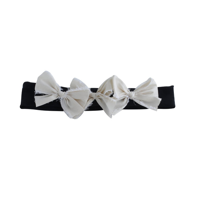 Black And Ivory Silk Triple Baby Bow Headband