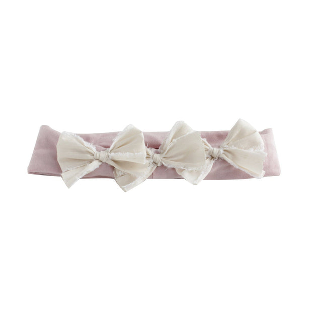 Ivory & Blush Pink Silk Triple Baby Bow Headband