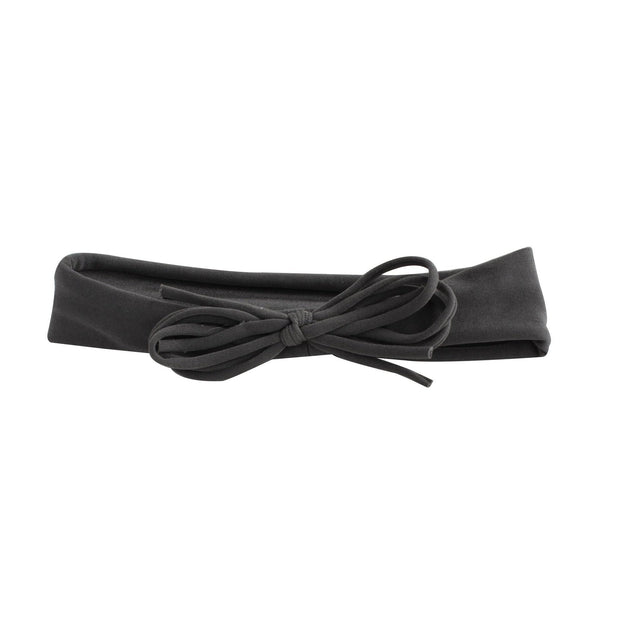 Charcoal Grey Shoelace Baby Bow Headband