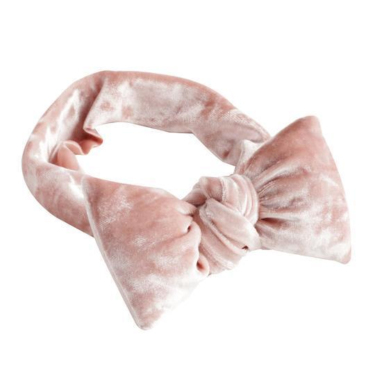 Powder Pink Puffed Velvet Baby Bow Headband