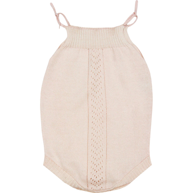 Clara Powder Pink Cotton and Silk Romper