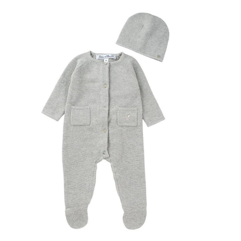 Pearly Grey Knitted Newborn Outfit and Hat Set