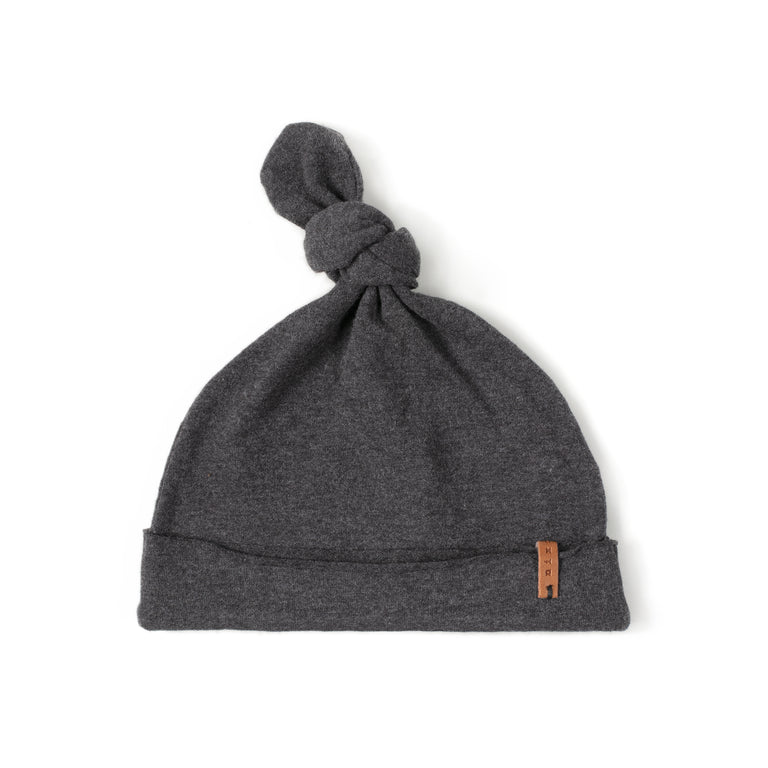 Charcoal Cotton Knot Hat