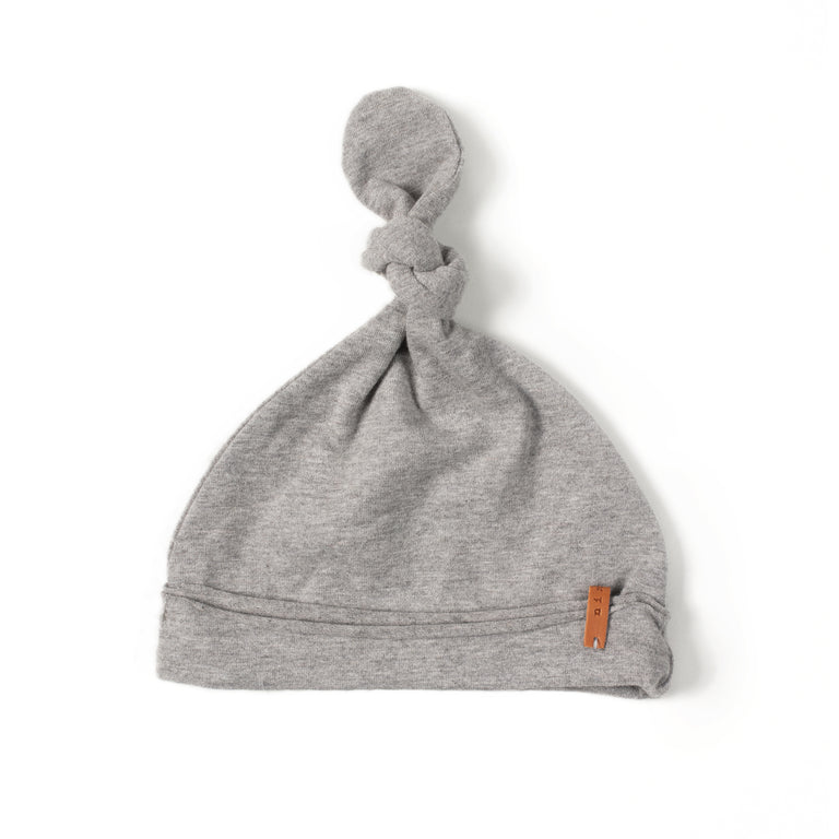 Grey Cotton Knot Hat
