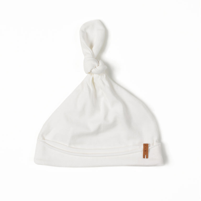 Off White Cotton Knot Hat
