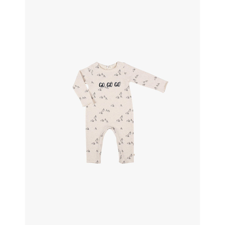 Cream Mountain Print Fleece Coverall