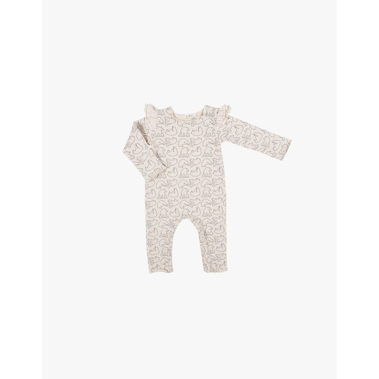 Cream Bear Print Ruffle Fleece Coverall