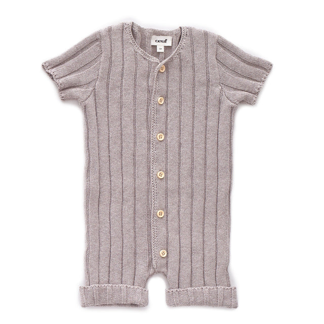 Light Grey Ribbed Everyday Romper