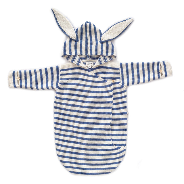 White And Blue Striped Knit Bunny Wrap