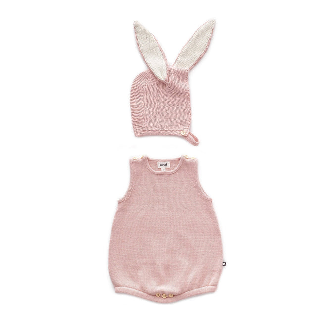 Light Pink Bunny Romper and Bonnet Set