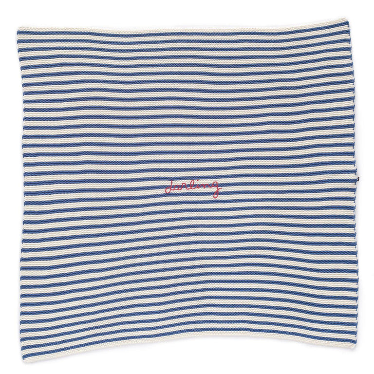 "Blue and White Striped ""darling"" Blanket"