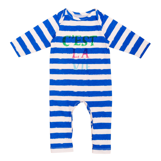 Blue Striped Print Footie