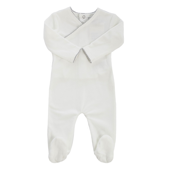White Velour Grey Piped Kimono Footie and Bonnet Set