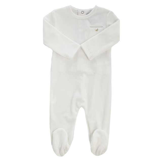White Velour Pocket Footie