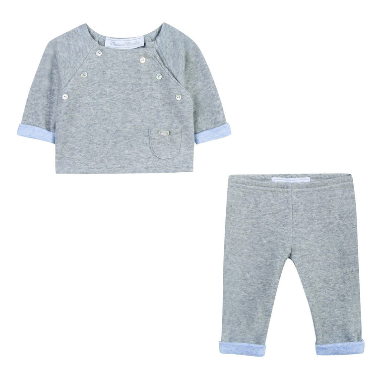 Grey Marl Two-Tone Two Piece Outfit