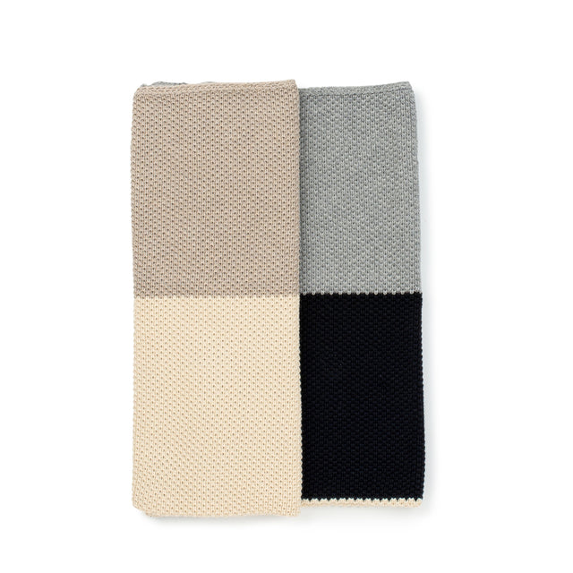 Khaki Colorblock Knitted Blanket