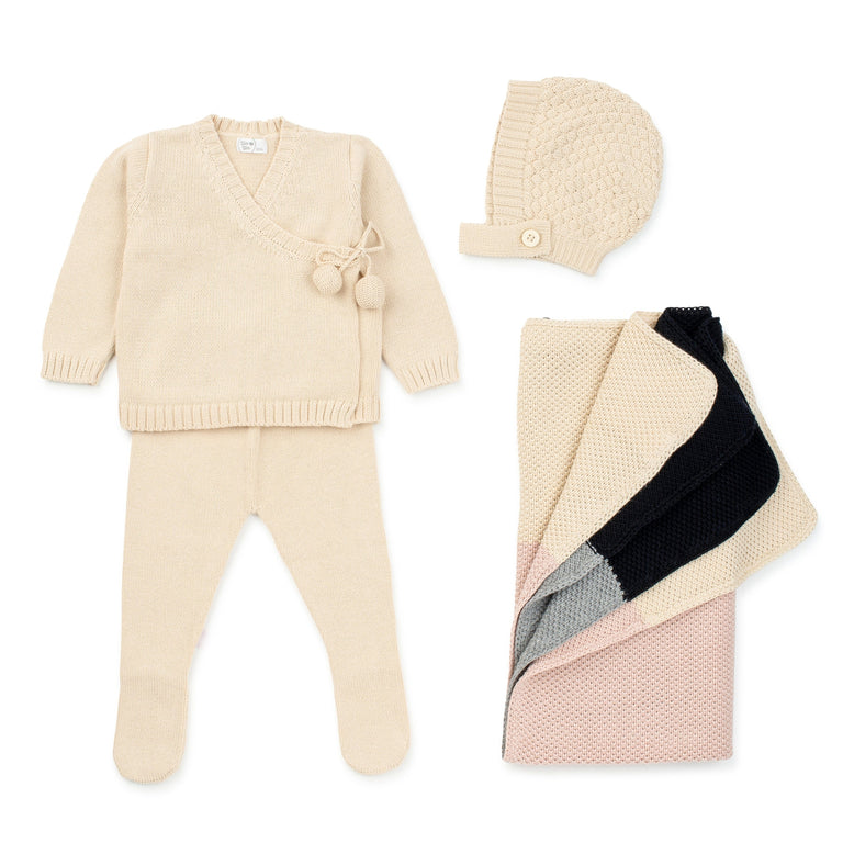 Natural  Knit Wrap Footed 2 Piece Set