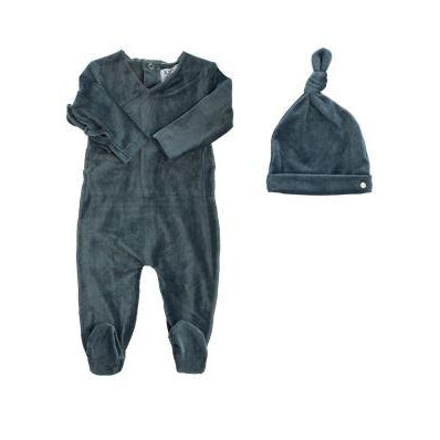 Charcoal Velour Ribbed Kimono Footie and Hat Set