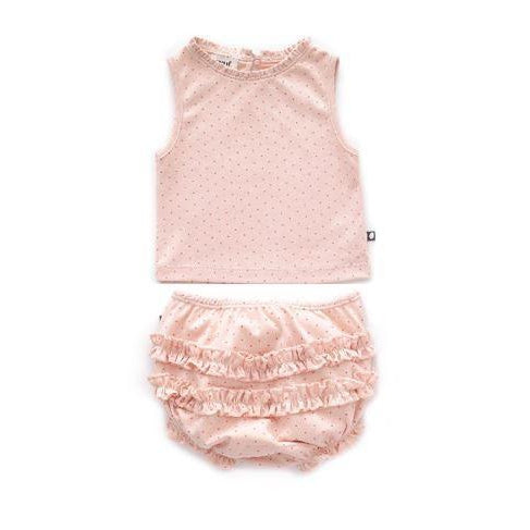 Light Pink Dots Ruffle Tank Top And Bloomers
