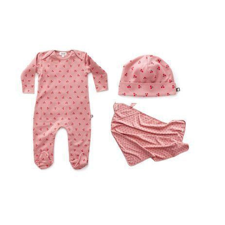 Dark Pink Cherries 3 Piece Layette Set