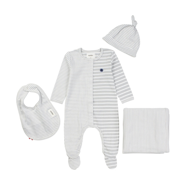 Gray Stripe Organic 4 Piece Layette Set