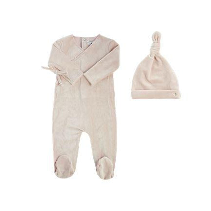 Pink Velour Ribbed  Kimono Footie and Hat Set