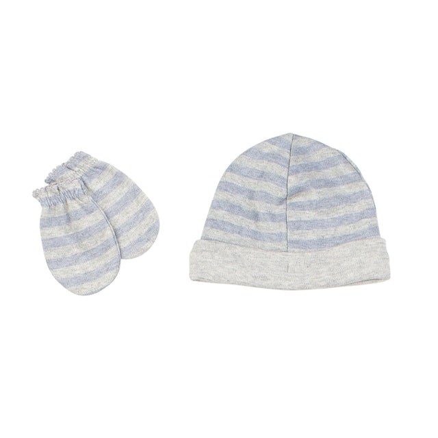 Blue Striped Hat And Mittens Set