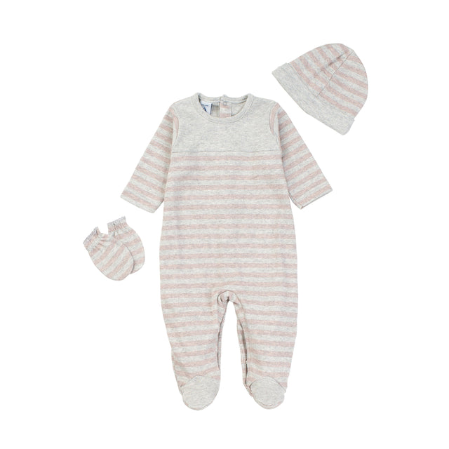 Pink Striped With Yoke Footie