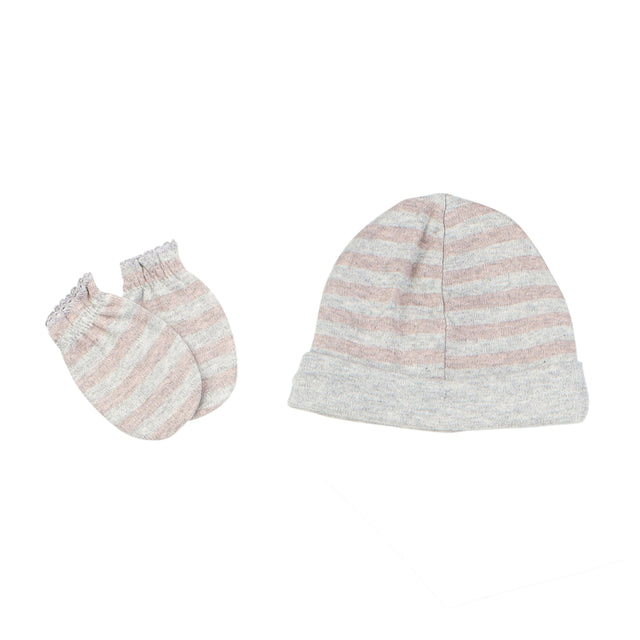 Pink Striped Hat And Mittens Set