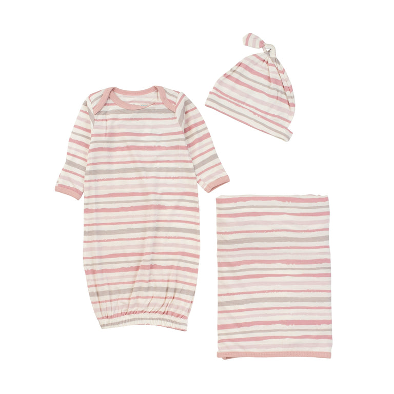 Modal Gown, Hat, & Blanket 3 Piece Set Black Pink Stripes