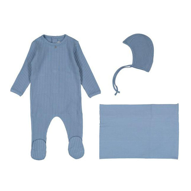 Dusty Blue Blue Ribbed 3 Piece Layette Set