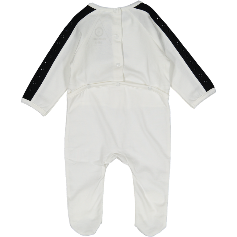 White With Black Stripe Sleeve Cotton Footie