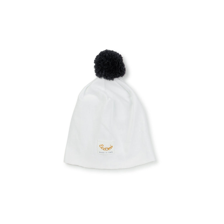 White Black Pom Pom Cotton Hat