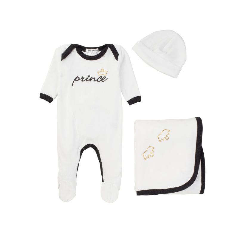 White Prince Velour Footie