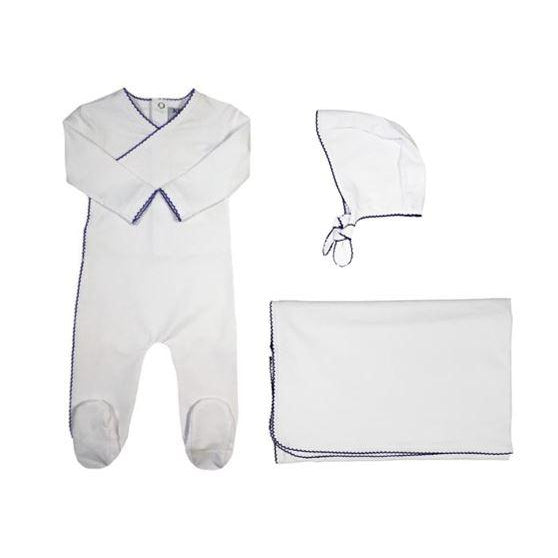 White Kimono Blue Piped 3 Piece Layette Set