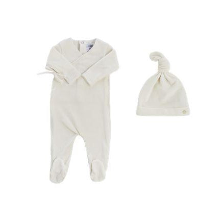 White Velour Ribbed Kimono Footie and Hat Set