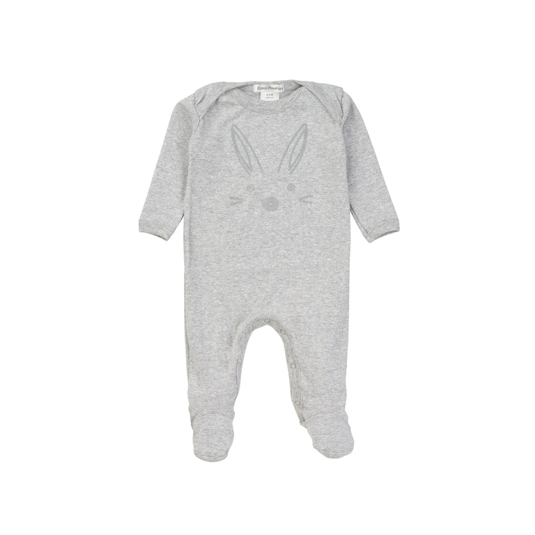 Gray Bunny Cotton Footie