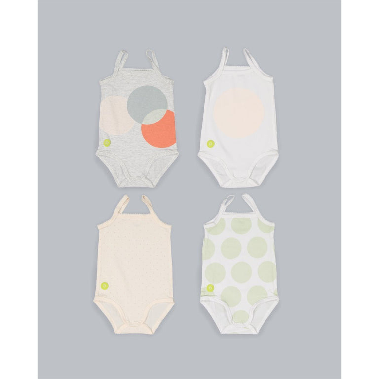 Baby Girl Sleeveless 4PC Onesies Set